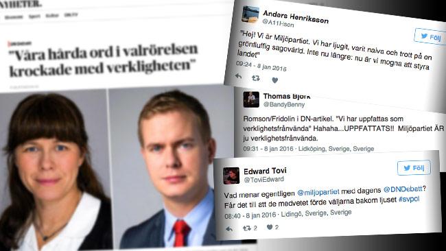 Nu hånas Miljöpartiet i sociala medier efter en debattartikel i Dagens Nyheter. Foto: Faksimil dn.se samt Twitter