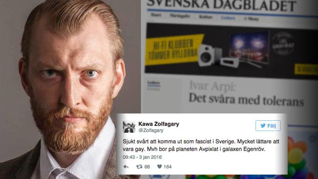 Arpis ledare om mer tolerans väckeri raseri hos vänsterdebattörer. Foto: Thomas Nihlen / Faksimil svd.se / Faksimil Twitter