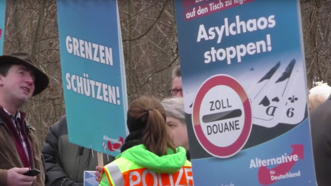 Här demonstrerar tyskarna mot invandringen. Foto: Faksimil Youtube