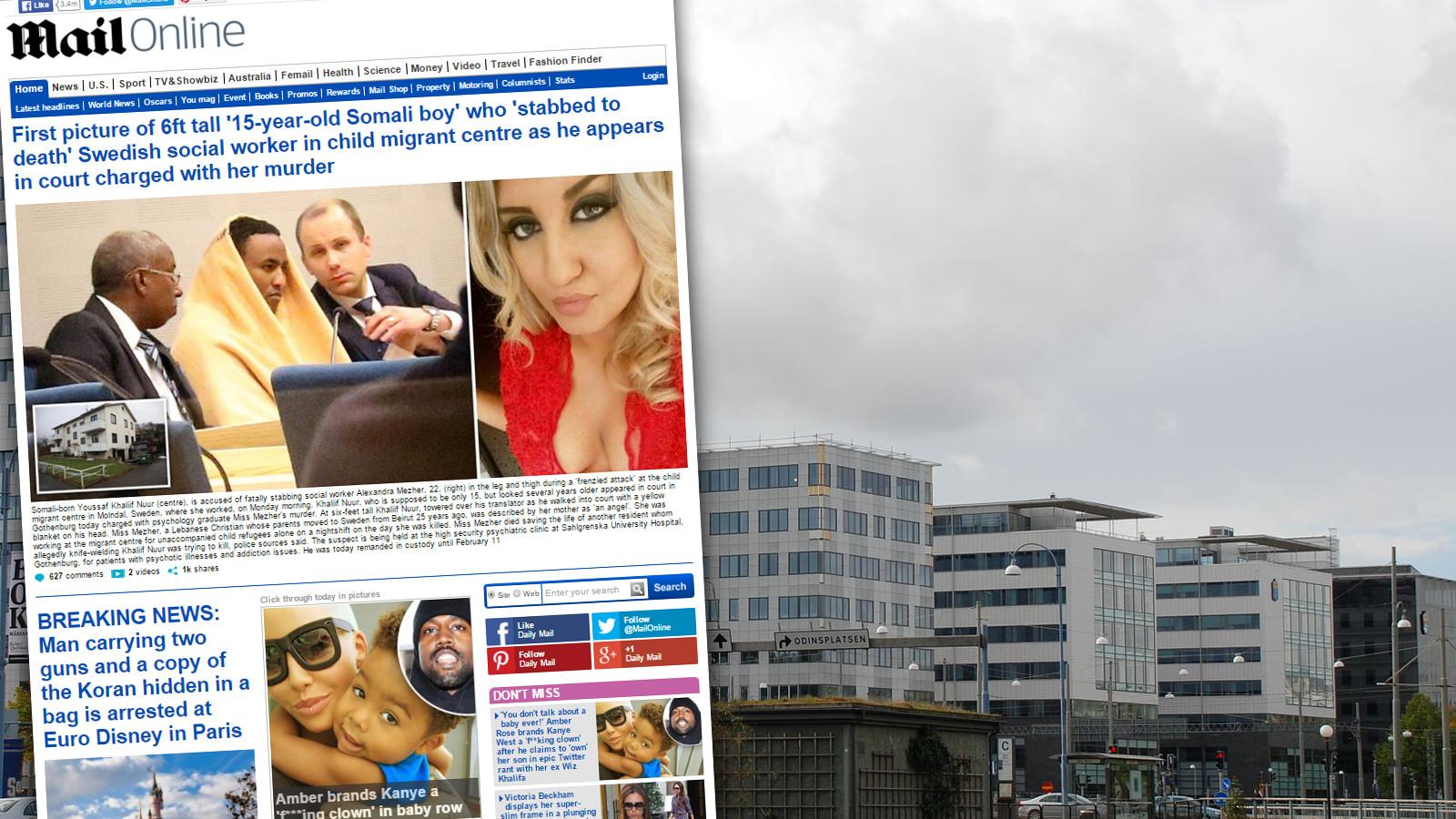 Rättscentrum i Göteborg och skärmdump från dailymail.co.uk Foto: Wikimedia/Skärmdump