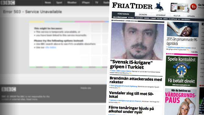Både BBC och Fria Tider låg nere på internet första dagen på året. Foto: Faksimil bbc.com samt friatider.se
