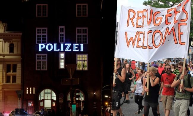 Polisstation vid Reeperbahn  i Hamburg och tysk demonstration 2014 för ökad flyktingmottagning. Foto: Flickr