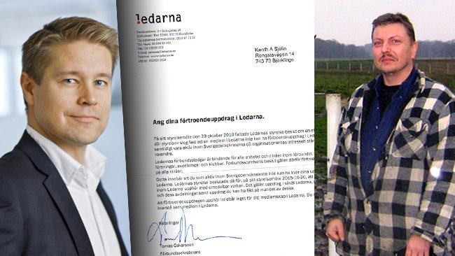 Tomas Oskarsson (t.v) och Kent Sjölin (t.h). I mitten brevet om att han inte längre får ha förtroendeuppdrag i Ledarna. Foto: Pressbild ledarna.se samt Privat