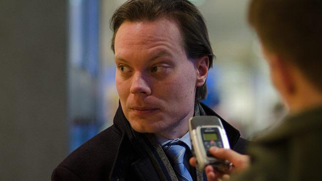 Martin Kinnunen efter rättegången idag. Foto: Nyheter Idag
