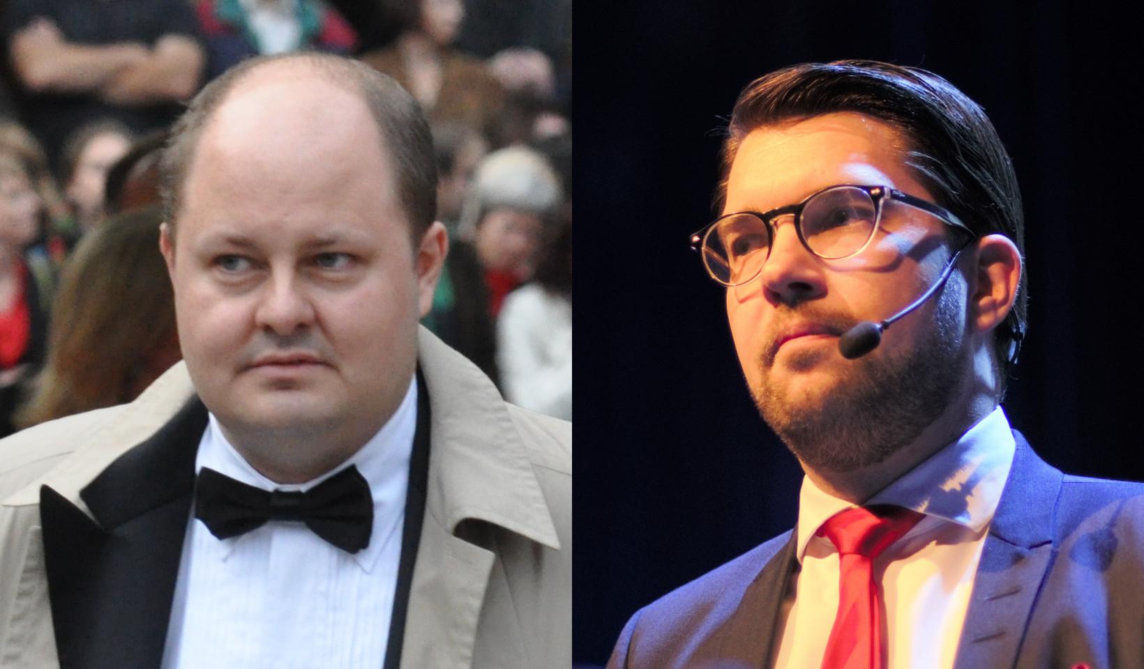 Thomas Matsson och Jimmie Åkesson. Foto: Holger Motzkau/Nyheter Idag