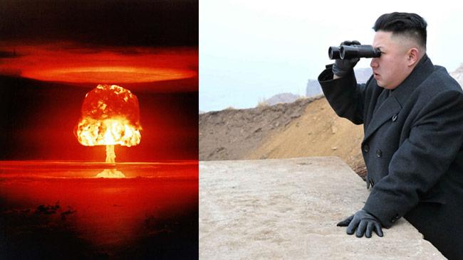 Nordkoreas diktator Kim Jon Un till höger och en riktig vätebomb till vänster. Foto: Wikimedia Commons samt KCNA