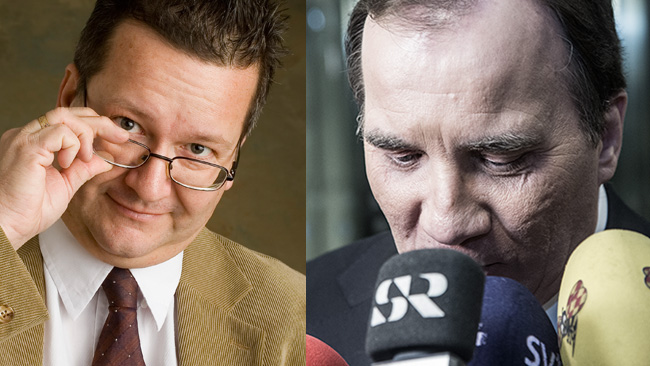Den S-märkta statsvetaren Stig-Björn Ljunggren (t.v) kommenterar Socialdemokraternas katastrofsiffror. Foto: ljunggren.com samt Nyheter Idag