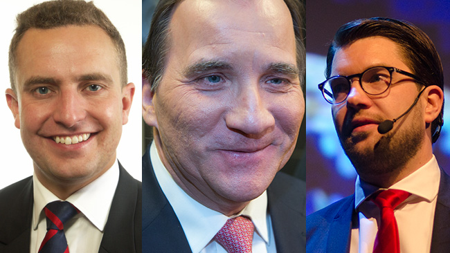 Tomas Tobé (t.v) ser hellre att Löfven (i mitten) fortsätter regera än att Sverige får en borgerlig politik med hjälp av Åkesson (t.h).  Bilden är ett montage. Foto: Riksdagen samt Nyheter Idag