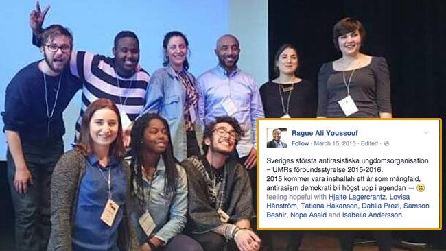 Sveriges största antirasistiska ungdomsorganisation= UMRs förbundsstyrelse 2015-2016. 2015 kommer vara inshallah ett år som mångfald, antirasism demokrati bli högst upp på agendan, skriver Rague när han publicerar den här bilden på Facebook.