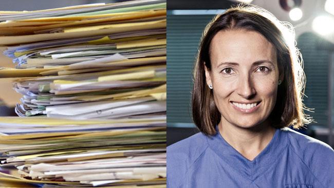 Fackordföranden för läkarkåren är mycket kritisk till den byråkratiska styrningen av kåren och menar att den ytterst lett till nedstämdhet och depression hos yrkesutövare och minskad tid för patientarbete. Foto: Kollage/Rickard Eliasson