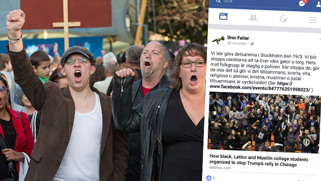 Dror Feiler (i mitten) mobiliserar på Facebook till motdemonstration. Här syns han under Åkessons tal i Almedalen 2014. Foto: Nyheter Idag samt faksimil Facebook