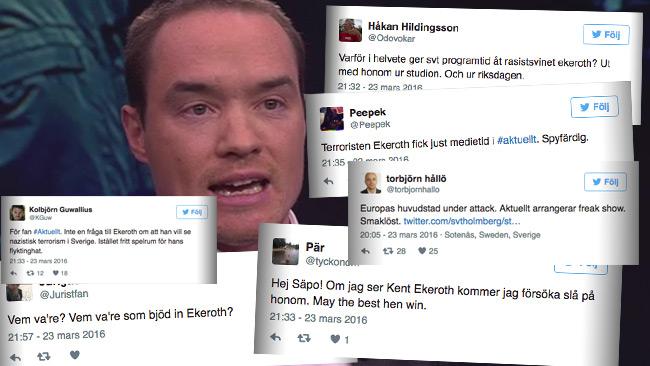 Det råder toalt raseri på Twitter efter att Kent Ekeroth gästade SVT Aktuellt. Foto: Faksimil svtplay.se samt twitter.com