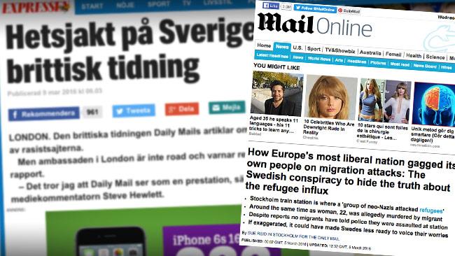 Expressen är inte glada över hur världens största nyhetssajt Daily Mail rapporterar om Sverige. Bilden är ett montage. Foto: Faksimil expressen.se samt dailymail.co.uk