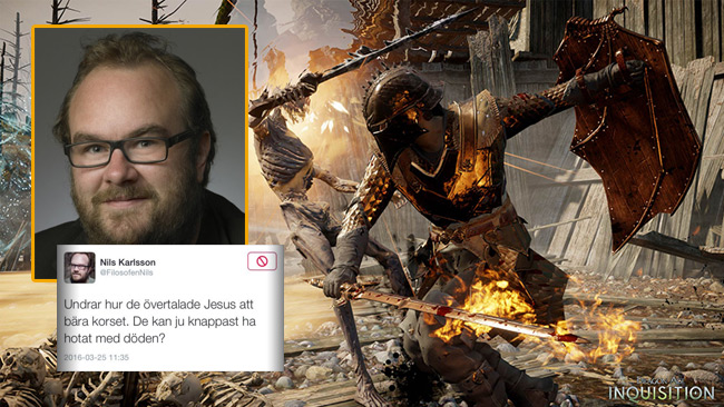 Filosofen Nils har tröttnat på Twitterkriget. Nu rehabiliterar han sig med teve-spelet Dragon Age istället. Foto: Pressbild dragonage.com samt Faksimil Twitter