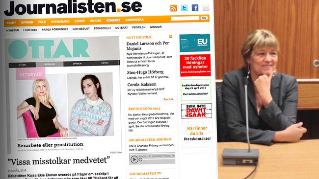Tidningen Journalistens ensidiga artikel till vänster. Chefredaktör Helena Giertta till höger. Foto: Faksimil journalisten.se samt Nyheter Idag