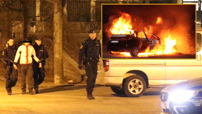 Här griper polisen en misstänkt gärningsman. Inklippt en av bilarna som brann i Upplands Väsby.