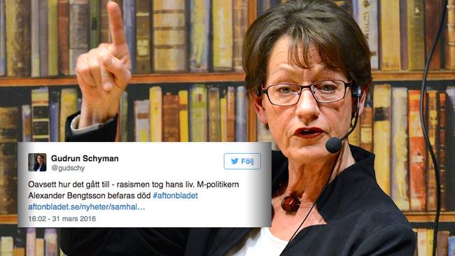 Oavsett vad som sägs om Bengtssons tragiska bortgång har Schyman redan bestämt sig för vad den beror på, enligt hennes Twitter. Foto: Frankie Fouganthin, Wikimedia Commons samt Faksimil Twitter
