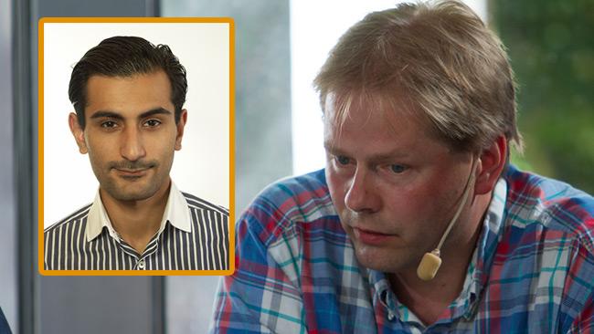 Hanif Bali (inklippt) och Anders Lindberg, ledarskribent på Aftonbladet. Foto: riksdagen.se samt Nyheter Idag