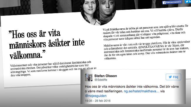 Nöjesguiden möter kritik och anklagas för rasism i sociala medier. Bilden är ett montage. Foto: Faksimil ng.se samt Twitter