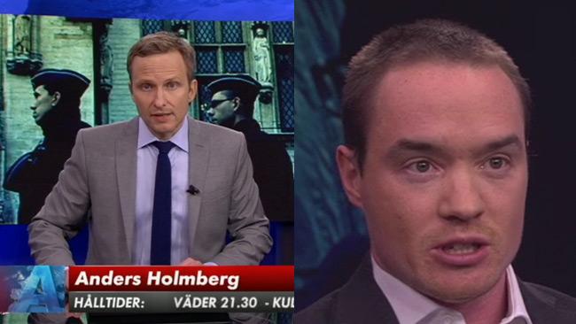 Anders Holmberg (t.v) är nyhetsankare i SVT Aktuellt. Till höger Kent Ekeroth (SD) i debatten i Aktuellt. Bilden är ett montage. Foto: Faksimil svtplay.se