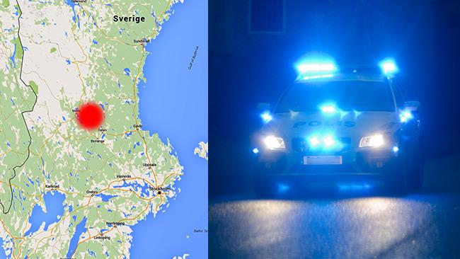 Mannen fördes till vårdcentral med dog av sina skador. Bilden på polisbilen är tagen vid ett annat tillfälle. Foto: Google Maps samt Nyheter Idag