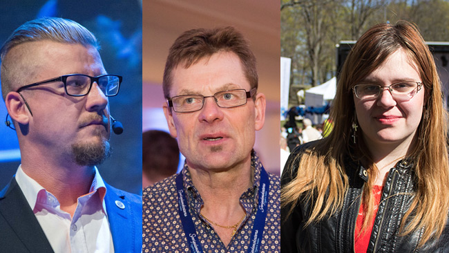 Linus Bylund (t.v). Bengt Malmberg (i mitten). Emma Sandkvist (t.h). Foto: Sven Pernils och Nyheter Idag