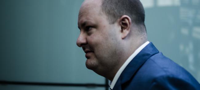 Expressens chefredaktör och ansvarige utgivare Thomas Mattsson var sammanbiten i rätten. Foto: Nyheter Idag