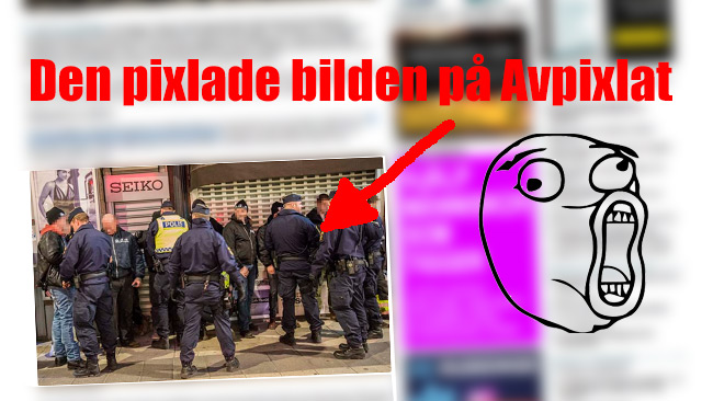 Den pixlade bilden som hela internet just nu pratar om. Bilden är ett montage. Grafik: Nyheter Idag. Bild: Faksimil Avpixlat.