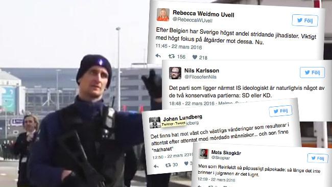 Nyheter Idag har samlat några av reaktionerna på Twitter efter dagens terrordåd. Foto: Faksimil Twitter samt Youtube