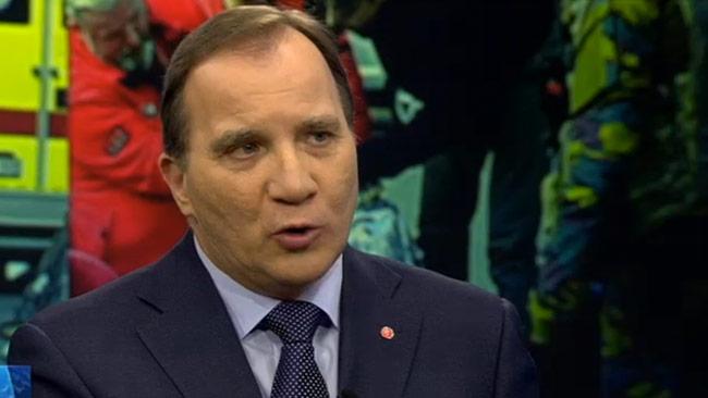 Stefan Löfven passade på att påminna om Breivik. Foto: Faksimil svtplay.se