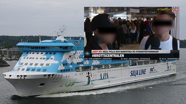 Gruppvåldtäkten ska ha inträffat på M/S Galaxy. Inklippt bild ur Aftonbladets webb-tv. Foto: Wikimedia Commons samt Aftonbladet.
