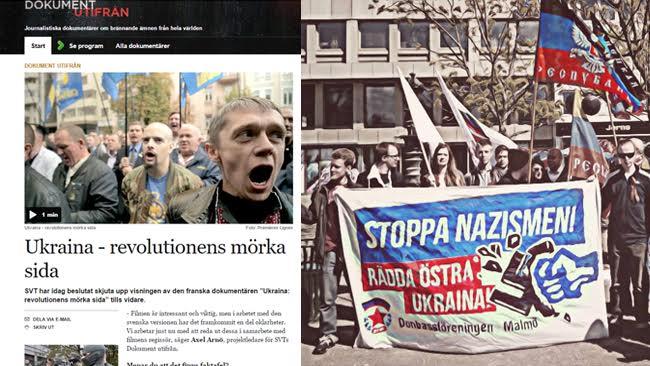 """Donbassföreningen kritiserar skarpt SVT:s beslut om att inte visa den franska dokumentären om """"nazistkuppen i Kiev"""". Foto: SVT/Faksimil och Donbassföreningen"""