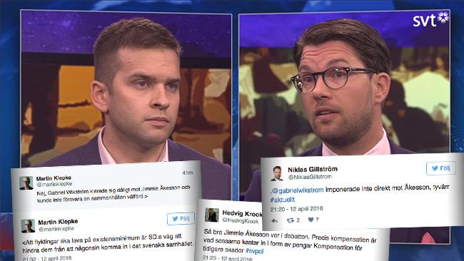 Åkesson och Wikström debatterade välfärd i SVT Aktuellt. Efteråt kommenterades debatten på Twitter. Foto: Faksimil svtplay.se samt Twitter