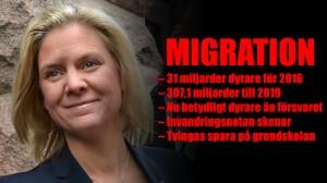 Magdalena Andersson kommenterade den nya chockbudgeten på onsdagen. Foto: Frankie Fouganthin, Wikimedia Commons
