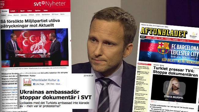 Anders Holmberg på SVT är en av de som upplevt hur intressen försöker påverka innehållet i de program han leder. Foto: Faksimil svtplay.se samt aftonbladet.se