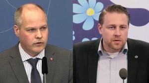 Migrationsminister Morgan Johansson (t.v) och Mattias Karlsson från Sverigedemokraterna (t.h). Foto: regeringen.se samt Facebook