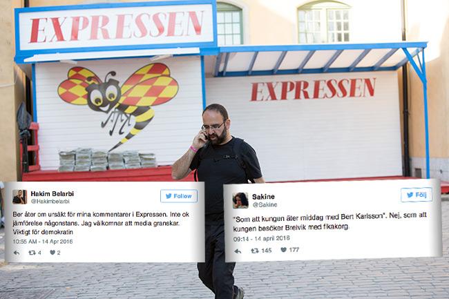 Nu pudlar Mehmet Kaplans pressekreterare efter kommentarerna till konkurrenten Expressen. Foto: Nyheter Idag samt faksimil Twitter