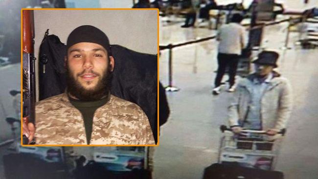 I bakgrunden övervakningsbild från flygplatsen i Bryssel. Inklippt i bild, Osama Krayem.