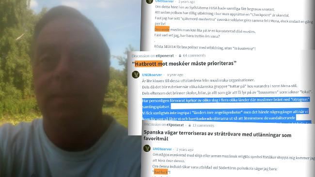 Inte rasist men avslöjar en rad hatiska kommentarer som knyts till Lennart Karlsson. Foto: Privat samt Faksimil Disqus