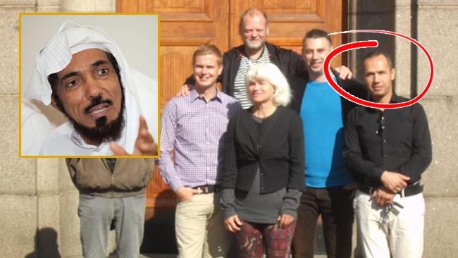 Kamal al-Rafai inringad. På samma bild hittar vi Gustav Fridolin. Salman al-Ouda är inklippt i bild.