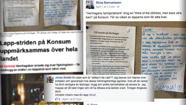 En av cheferna på VF visste om att lappen var skriven av tidningens egen journalist, det framgår av Facebook. Bilden är ett montage. Foto: Faksimil vf.se samt Facebook.com