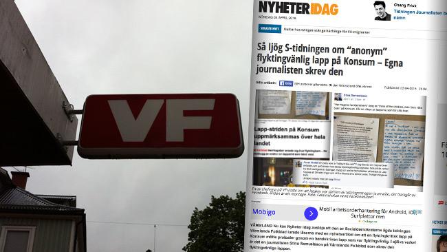 Värmlands Folkblad svarar nu i ett öppet brev på vår artikel. Bilden är ett montage. Foto: Wikimedia Commons samt Faksimil nyheteridag.se