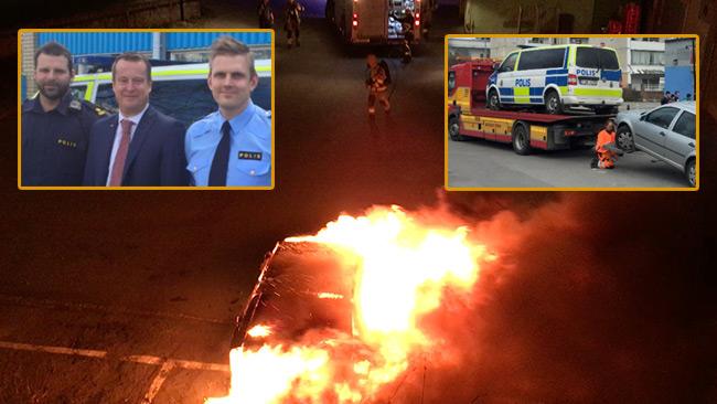 En polisbuss fick däcken skurna och en annan bil stacks senare i brand när Ygeman besökte Norsborg. Foto: Polisen samt Nyheter Idag