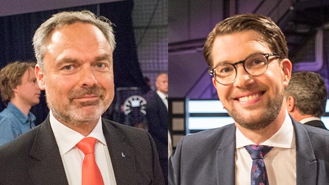Nyheter Idag talade med både Jan Björklund (t.v) och Jimmie Åkesson (t.h) om värderingar som står i strid med det svenska samhället. Foto: Nyheter Idag