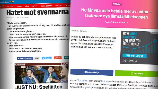 """Expressen gör ett reportage om fientlighet mot """"vita"""" människor och svenskar – men berättar inte att de själva sprider sådana fördomar. Foto: faksimil expressen.se"""