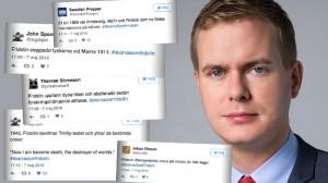 Nu tokhånas Gustav Fridolin på Twitter efter fadäsen i TV4 Nyhetsmorgon. Foto: Wikimedia Commons samt Faksimil Twitter