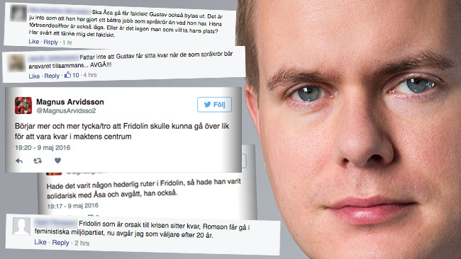 Kritikstormen mot Gustav Fridolin är massiv i sociala medier och på Miljöpartiets Facebooksida. Foto: Pressbild samt faksimil Facebook och Twitter