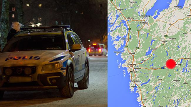 Hässleholmen, Borås ligger öster om Göteborg. Bilden på polisen är tagen vid ett annat tillfälle. Foto: Nyheter Idag samt Google Maps