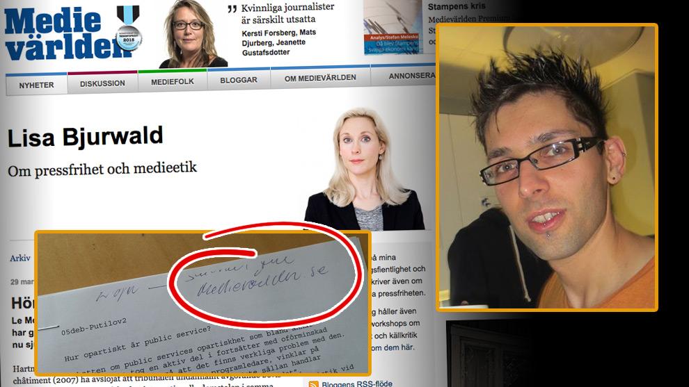 Putilov (inklippt i bild) är säker på att det var Lisa Bjurwald på Medievärlden som skvallrade. Foto: Faksimil medievarlden.se samt Privat