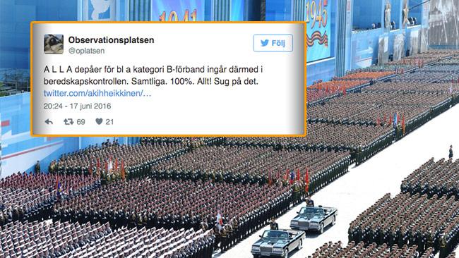 Det pågår en stor mobilisering i Ryssland. På bild syns militärparaden 2015. Inklippt en tweet från Observationsplatsen. Foto: Kremlin / Twitter